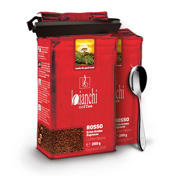 PROMO: 2xBianchi Rosso 250 g мляно с подарък лъжица и щипка за кафе